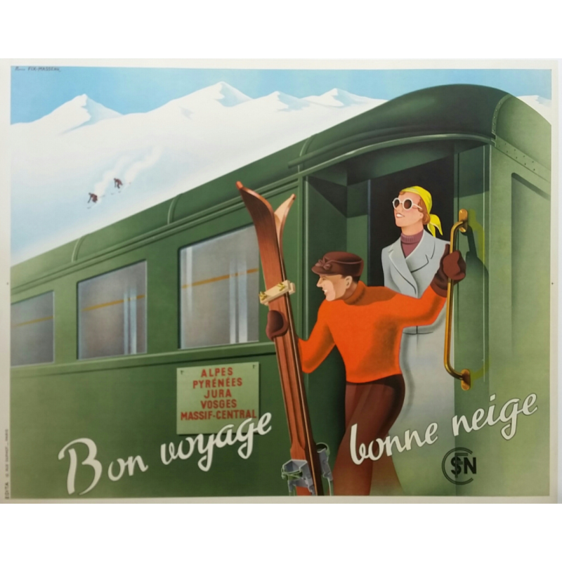 Original vintage winter sports poster Bon voyage Bonne neige FIX-MASSEAU