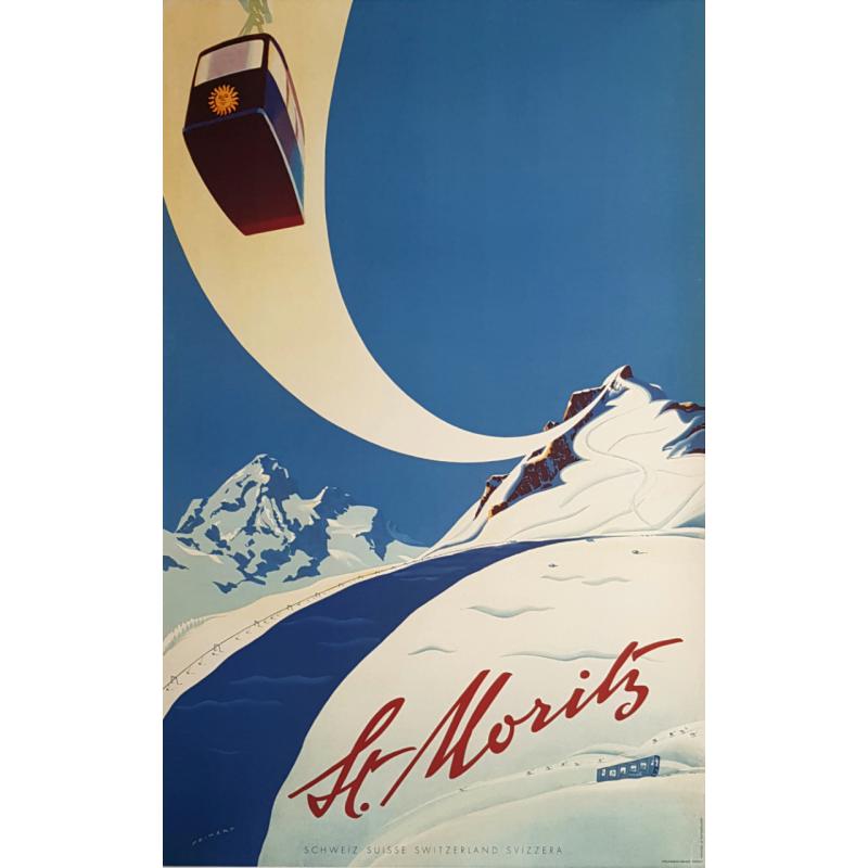 Original vintage poster St Moritz Suisse Martin PEIKERT