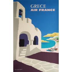 Affiche ancienne originale Air France Grece Guy GEORGET