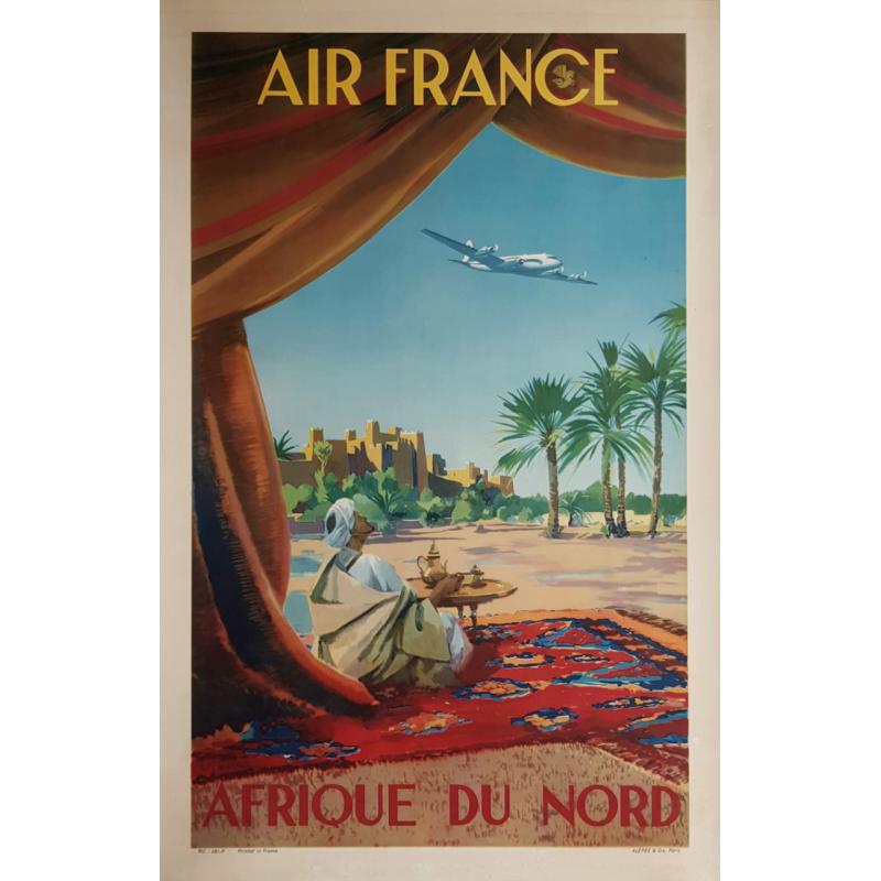 Affiche ancienne originale Air France Afrique du Nord Vincent GUERRA