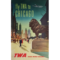 Affiche ancienne originale Fly TWA to CHICAGO