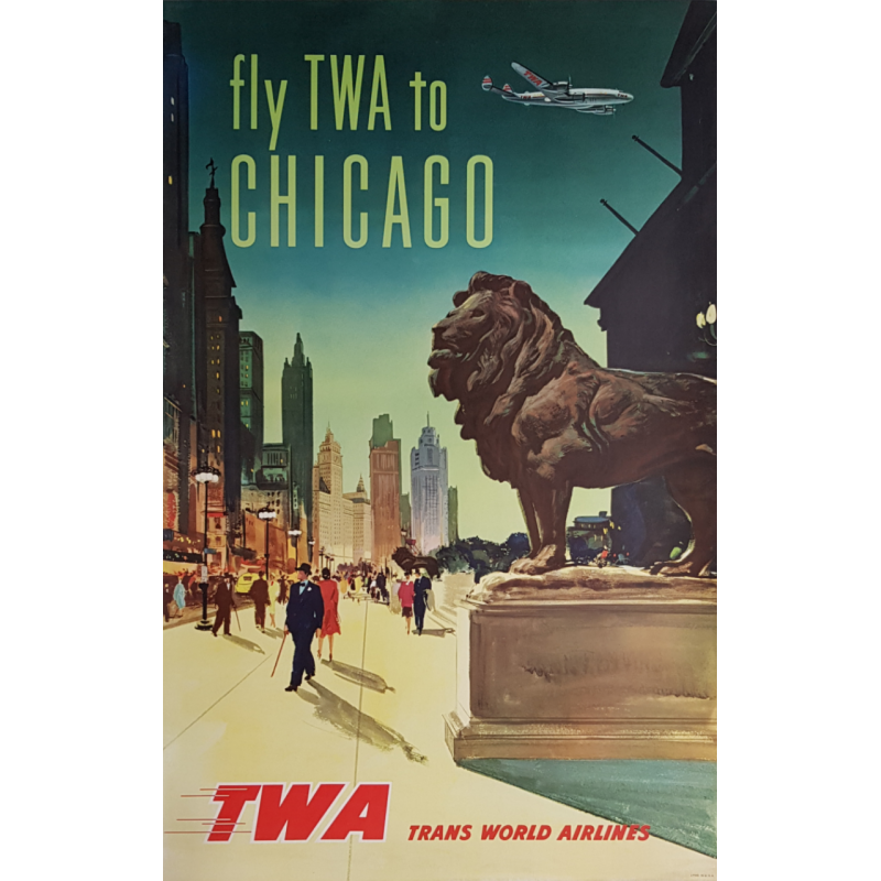 Original vintage travel poster Fly TWA to CHICAGO