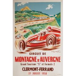 Affiche ancienne originale Circuit de montagne d'auvergne Clermont Ferrand Geo HAM