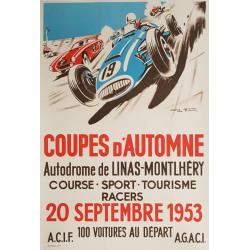 Affiche ancienne originale Coupes d'Automne Linas Montlhéry Geo HAM
