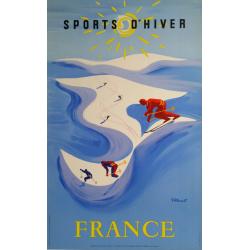 Affiche ancienne originale Sport d'hiver France ski Bernard Villemot