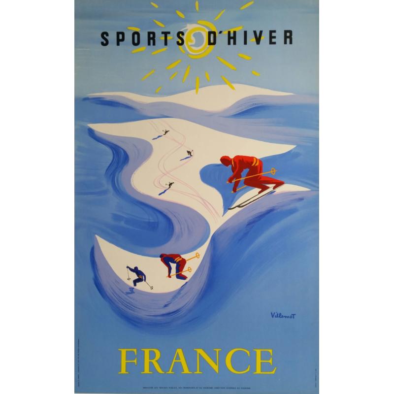 Original vintage poster Sport d'hiver France ski Bernard Villemot