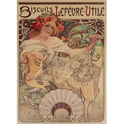 Original vintage poster 1987 Biscuits Lefevre Utile Alfonse MUCHA