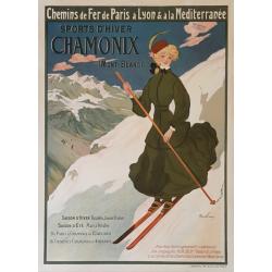 Affiche ancienne originale CHAMONIX Sport d'hiver Mont-Blanc PLM Abel FAIVRE