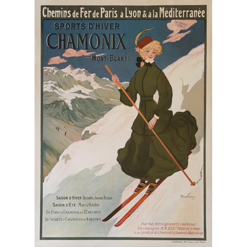 Original vintage poster CHAMONIX Sport d'hiver Mont-Blanc PLM Abel FAIVRE