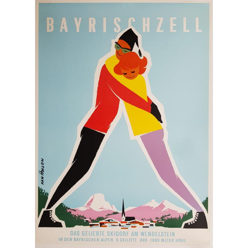 Affiche ancienne originale ski Bayrischzell bayrischen alpen skidorf