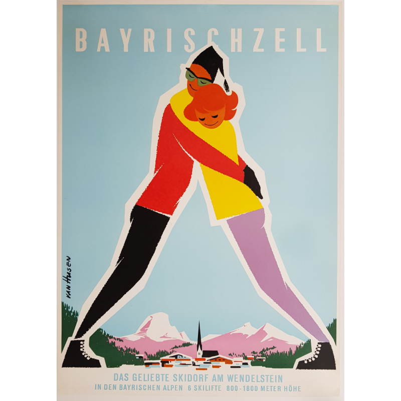 Original vintage poster ski Bayrischzell bayrischen alpen skidorf