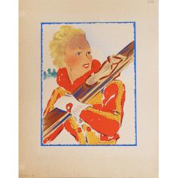 Projet ancien aquarelle originale Sport d'hiver skieuse jaune rouge