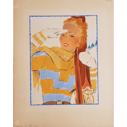 Old original watercolor project winter sports ski girl yellow and blue