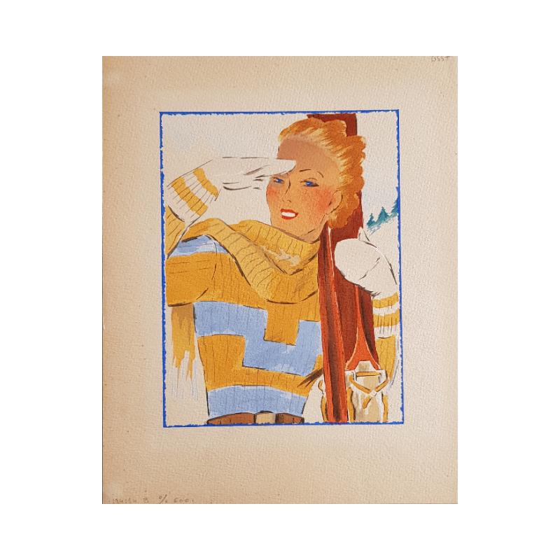Projet ancien aquarelle originale Sport d'hiver skieuse jaune bleu