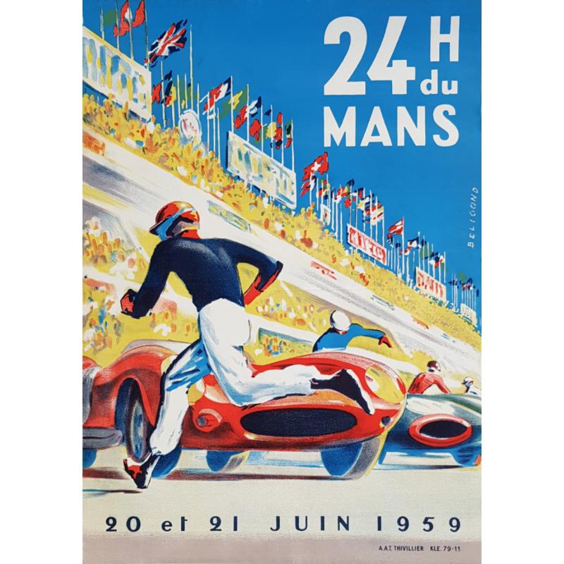 Affiche ancienne originale 24 heures du mans 1959 Michel BELIGOND