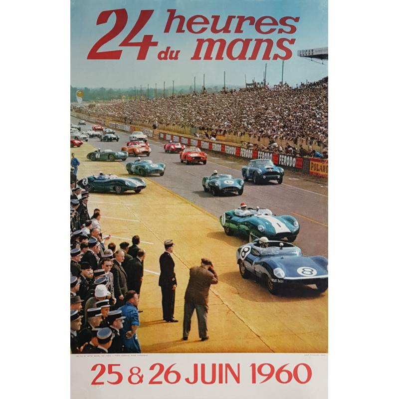 Affiche ancienne originale 24 heures du Mans 1960 Photo Debraine