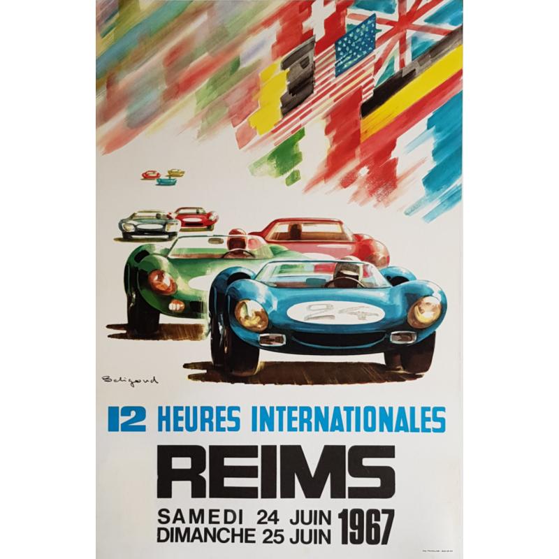 Affiche ancienne originale 12 heures internationales de Reims 1967 Michel BELIGOND