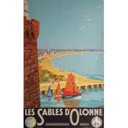 Affiche ancienne originale Les Sables d'Olonne Pierre COMMARMOND