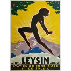 Affiche ancienne originale LEYSIN Suisse Switzerland Jacomo Müller