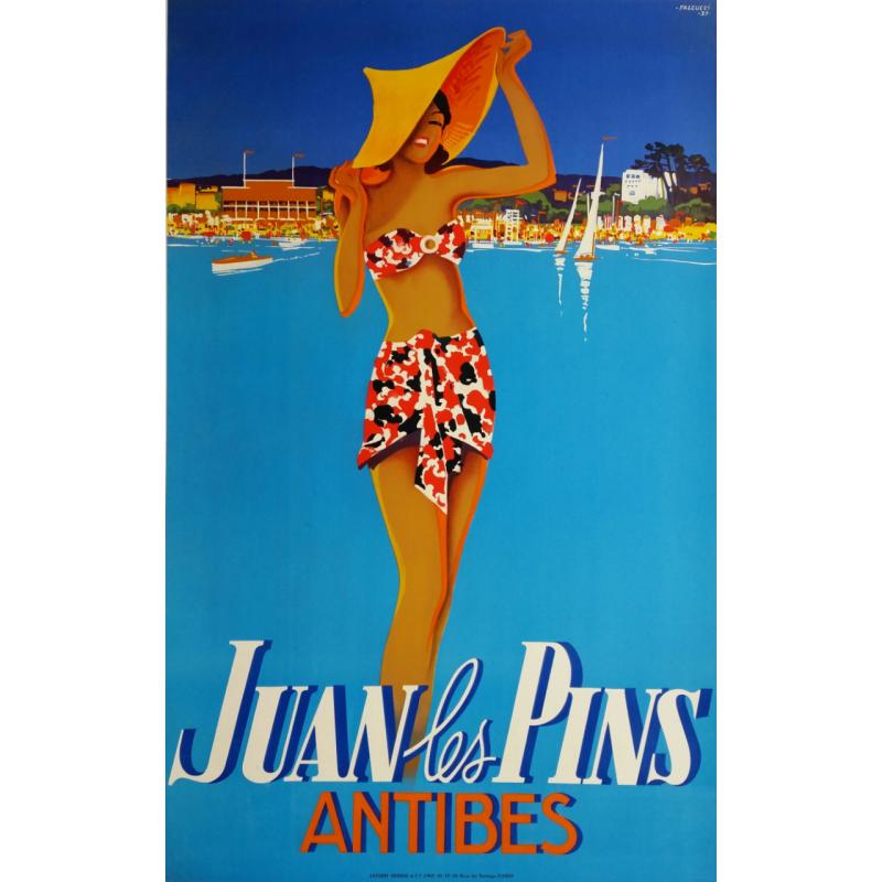 Affiche ancienne originale Juan les Pins Antibes - 1937 - Robert FALCUCCI