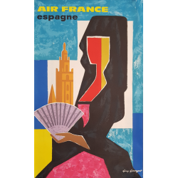 Original vintage poster Air France Espagne Guy GEORGET