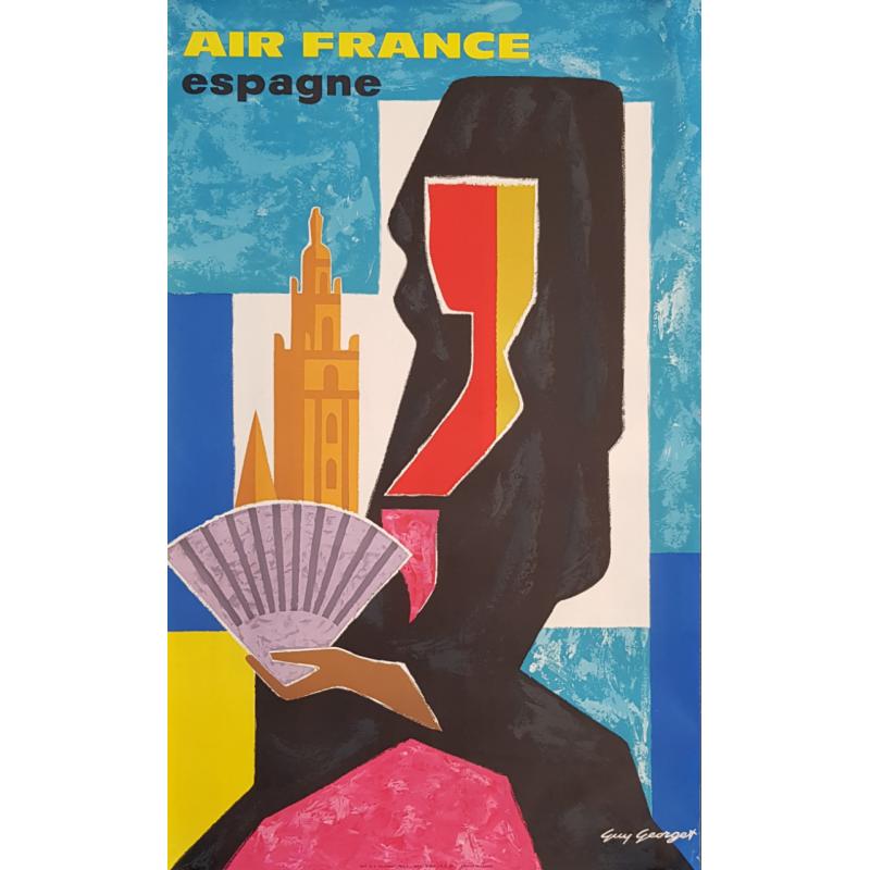 Affiche ancienne originale Air France Espagne Guy GEORGET