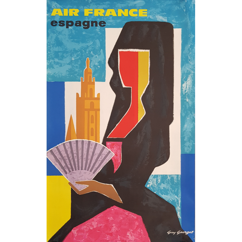 Original vintage poster Air France Espagne Guy GEORGET