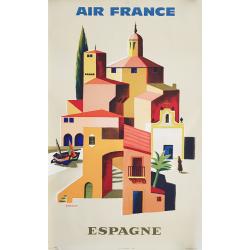 Affiche ancienne originale Air France Espagne VERNIER