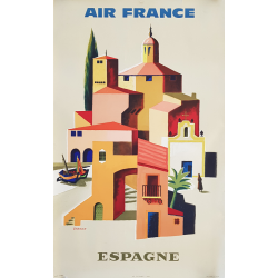 Original vintage poster Air France Espagne VERNIER