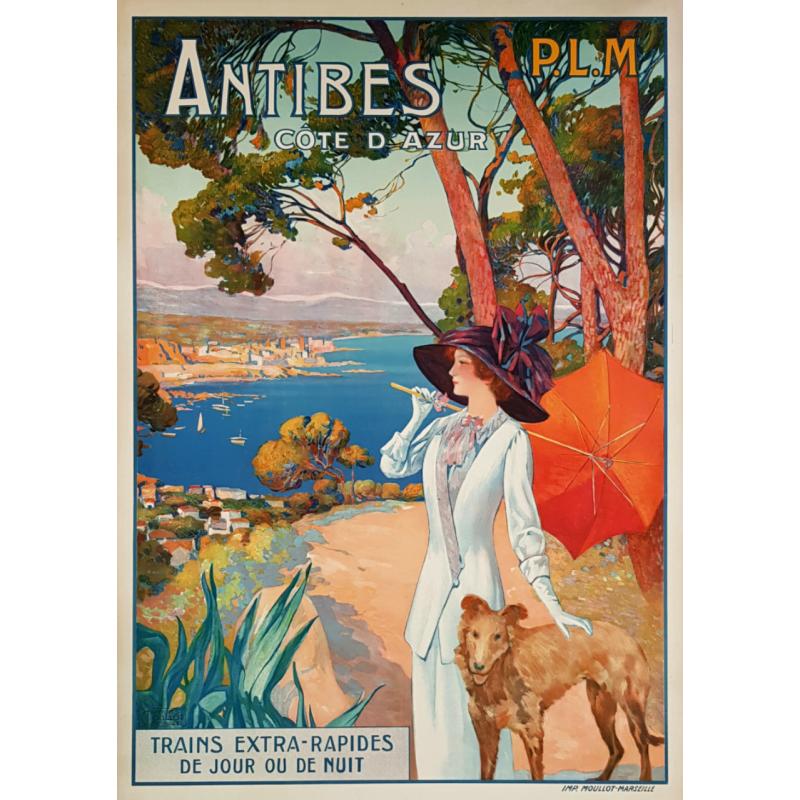 Affiche ancienne originale Antibes Côte d'Azur PLM David DELLEPIANE