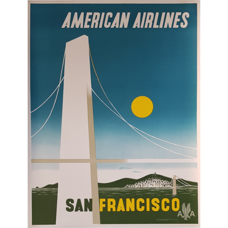 Affiche ancienne originale American Airlines San Francisco McKnight KAUFFER