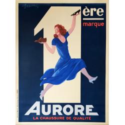 Affiche ancienne originale Aurore chaussure de qualité Leonetto CAPPIELLO