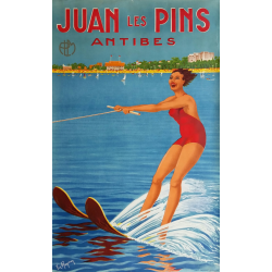 Affiche ancienne originale PLM Juan les Pins Antibes - 1930s - RAYMON Victor