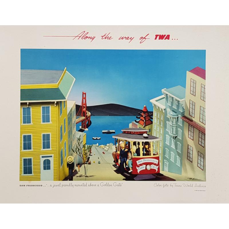 Affiche ancienne originale San Francisco Golden Gate TWA Rex WERNER