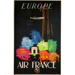 Original vintage poster Air France Europe Edmond MAURUS
