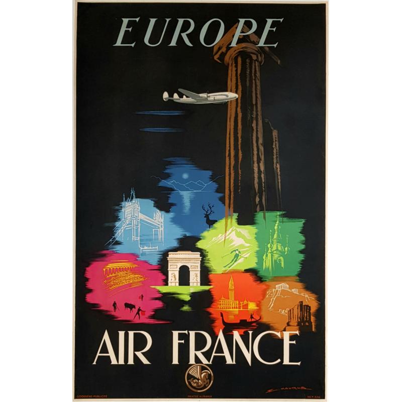 Affiche ancienne originale Air France Europe Edmond MAURUS
