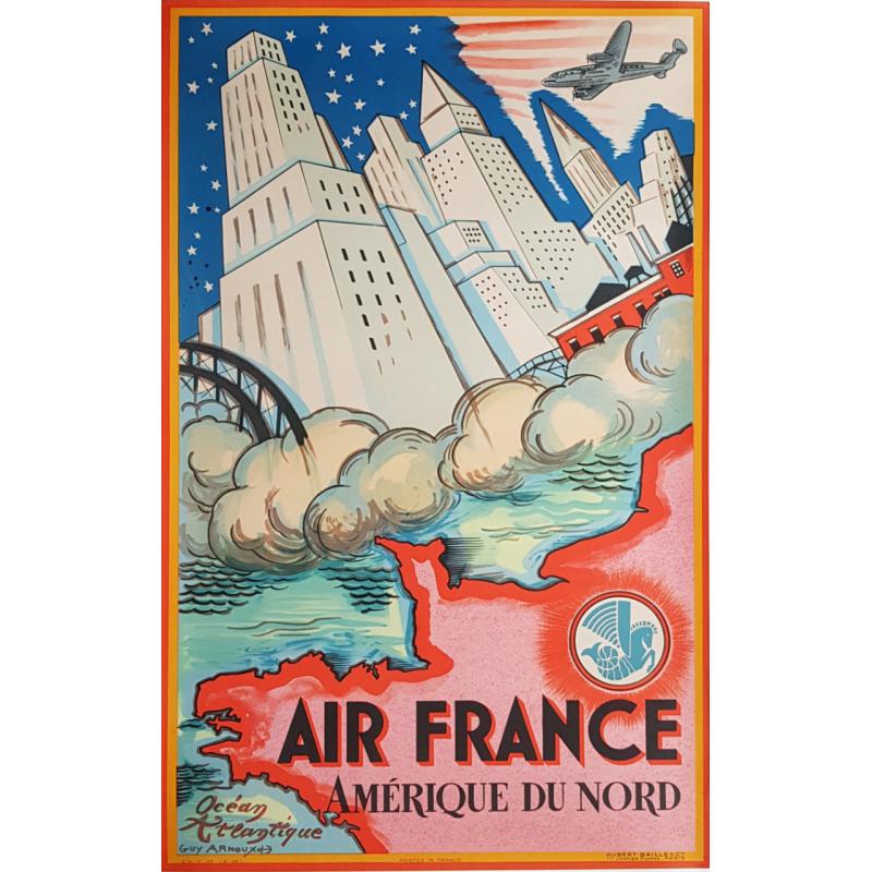 Affiche ancienne originale Amérique du nord 1946 Guy ARNOUX