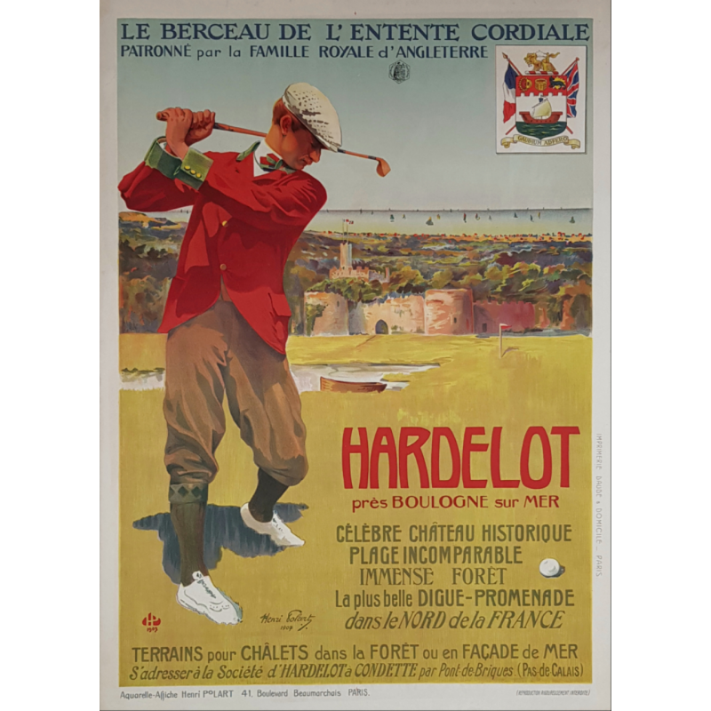 Affiche ancienne originale golf Hardelot 1907 Henri POLART