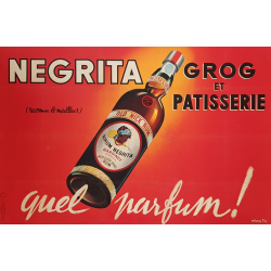 Affiche ancienne originale Rhum Negrita Quel Parfum Ets Vasselais