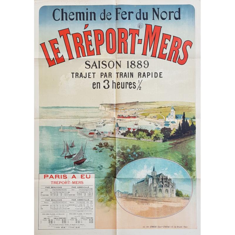 Affiche ancienne originale Le Tréport-Mers 1889 Jules CHERET