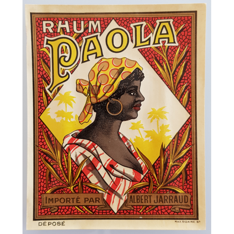 Original vintage label Rhum Paola