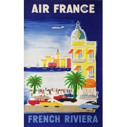 Affiche ancienne originale Air France French Riviera 1952 VILLEMOT