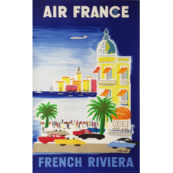 Original vintage poster Air France French Riviera 1952 VILLEMOT
