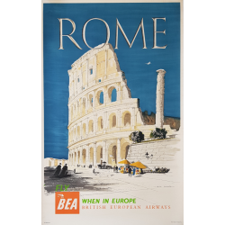 Affiche ancienne originale BEA Rome 1955 CASSON Hugh