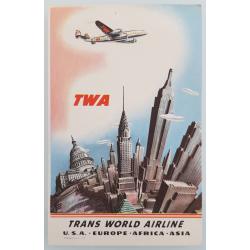 Carte ancienne originale TWA New York USA Europe Africa Asia