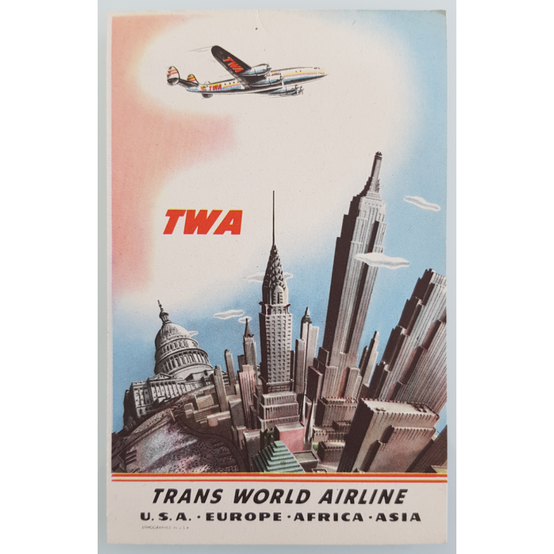 Carte ancienne originale TWA New York USA Europe Africa Asia