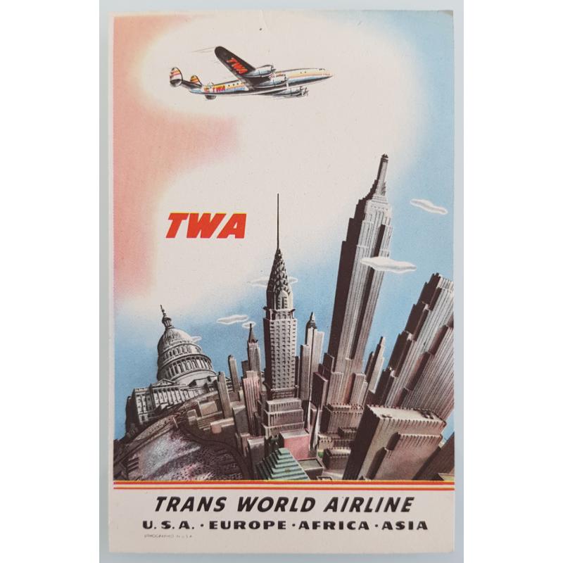 Original vintage card TWA New York USA Europe Africa Asia