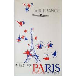 Affiche ancienne originale Air France Fly to Paris Raymon GID
