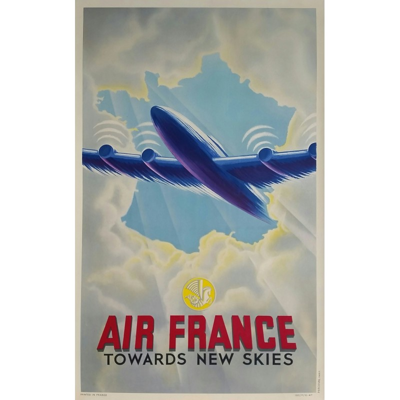 Affiche ancienne originale Air France Towards new skies 1947