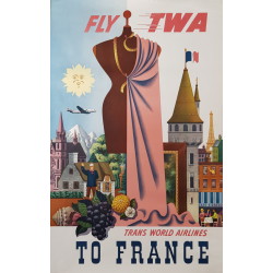 Affiche ancienne originale TWA France GRECO